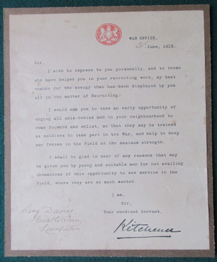 Field Marshall Earl Kitchener Sigend Letter Appeal Welsh Men Recruit World War I